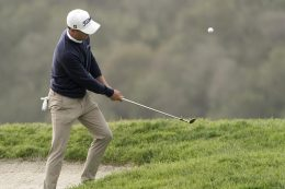Justin Thomas chips onto the third green during a practice round of the U.S. Open Golf Championship, Wednesday, June 16, 2021, at Torrey Pines Golf Course in San Diego. (AP Photo/Jae C. Hong)